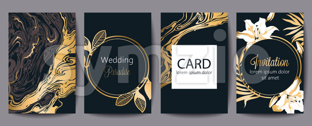 Set of greeting cards with place for text. Wedding paradise. Invitation. Black and gold decoration. Floral theme. Vector