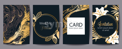 Set of greeting cards with place for text. Wedding paradise. Invitation. Black and gold decoration. Floral theme. Vector Stock Vector