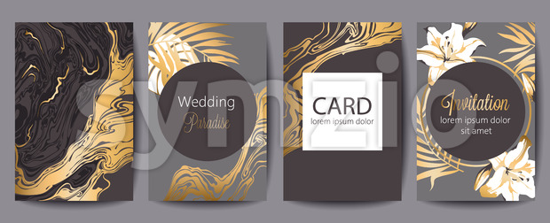 Set of greeting cards with place for text. Wedding paradise. Invitation. Dark brown, gray and gold colors. Tropical flowers. Vector