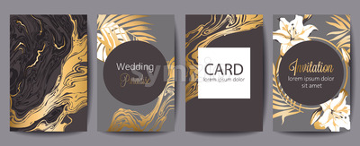 Set of greeting cards with place for text. Wedding paradise. Invitation. Dark brown, gray and gold colors. Tropical flowers. Vector Stock Vector