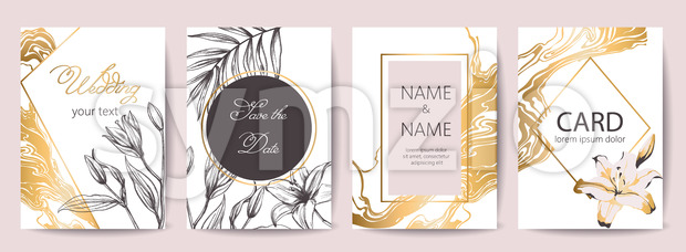 Set of wedding celebration cards with place for text. Save the date. Tropical flowers decoration. Golden, white and black colors. ...