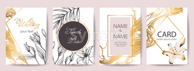 Set of wedding celebration cards with place for text. Save the date. Tropical flowers decoration. Golden, white and black colors. Vector Stock Vector
