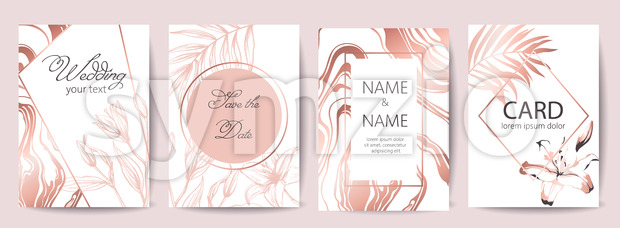 Set of wedding celebration cards with place for text. Save the date. Tropical flowers. White and rose gold colors. Vector