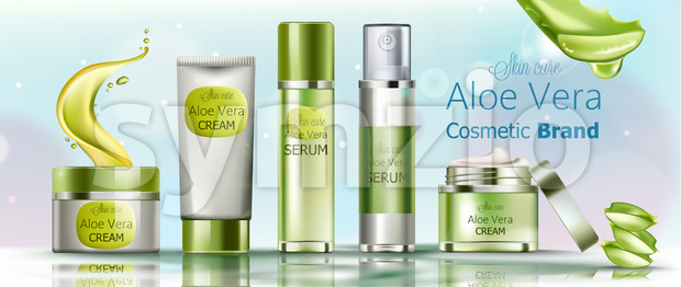 Set of cream and serum cosmetics for skin care. Aloe vera cosmetic brand. Vector Stock Vector