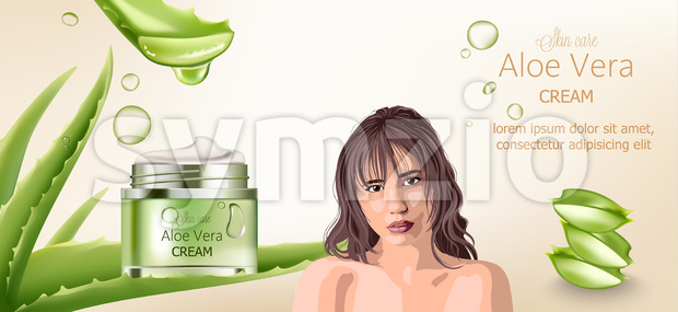 Aloe vera cream for skin care. Bare brunette woman advertising. Aloe background with place for text. Vector Stock Vector