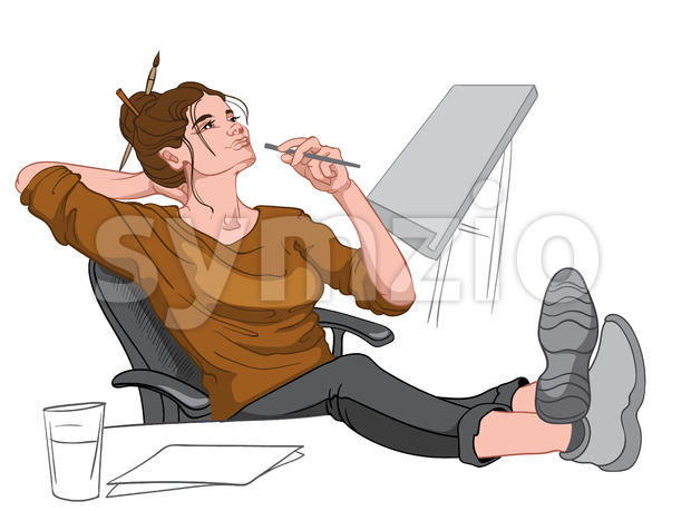 Joyful brunette dressed in brown sweater, black pants and gray footwear sitting in chair and her feet on the desk thinking. Painter workplace. Vector Stock Vector