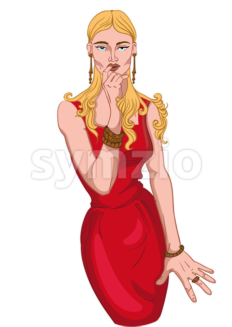 Seductive blonde woman in red dress and jewelry ogling. Blue eyes. Vector Stock Vector