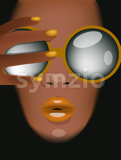 Tanned woman with yellow sunglasses, lips and nails looking covering herself with hand. Vector