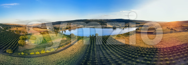 Nature with lake and hills in Moldova near Balanesti village Stock Photo