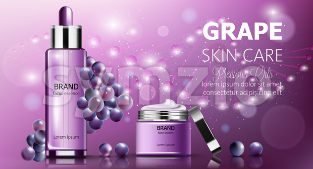 Banner set of grape skin care cosmetics. Facial essence and cream. Purple color. Product placement. Mockup Realistic Vector