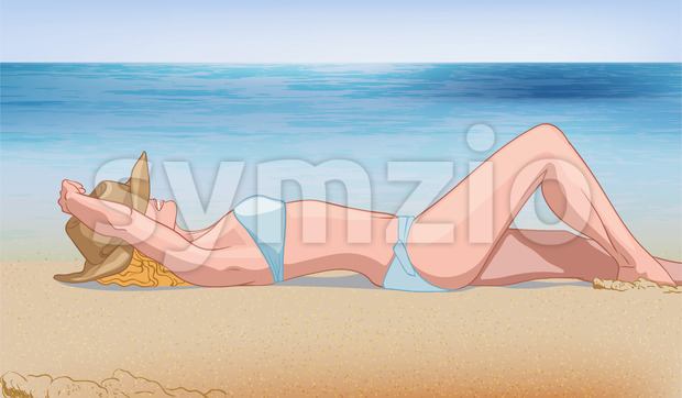 Young blonde woman in blue swimsuit and hat laying on the beach near the water. Relaxing in nature. Vector Stock Vector
