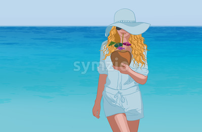 Young tanned blonde woman in blue clothes, sunglasses and hat drinking coconut cocktail near the sea. Vector Stock Vector
