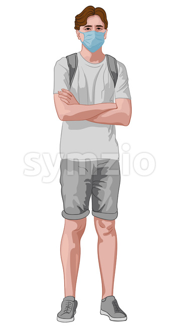 Young man in gray clothes and blue facial mask standing with crossed hands. Wearing backpack. Travelling during corona virus pandemic. Vector Stock Vector