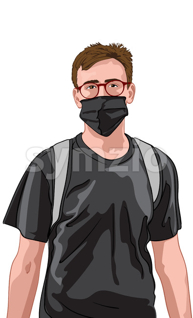 Young man with red glasses and black t-shirt wearing facial mask and backpack. Travelling during corona virus pandemic. Vector Stock Vector