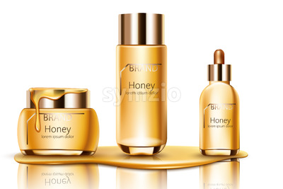 Set of honey cosmetic dripping on bottom with cream, facial essence and spray bottle. Mockup realistic Vector Stock Vector