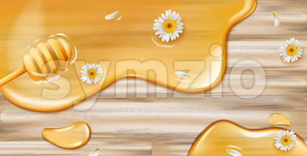 Honey dripping from spoon on wooden texture with chamomile decoration. Product placement Vector