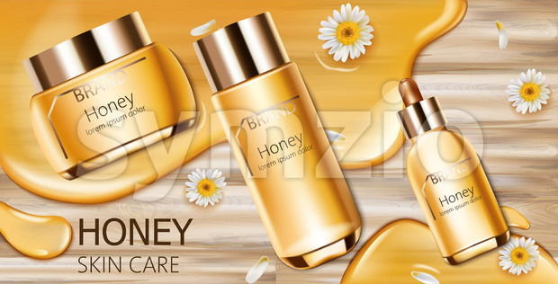 Set of honey cosmetic with cream, facial essence and spray bottle. Wood background. Mockup realistic Vector Stock Vector