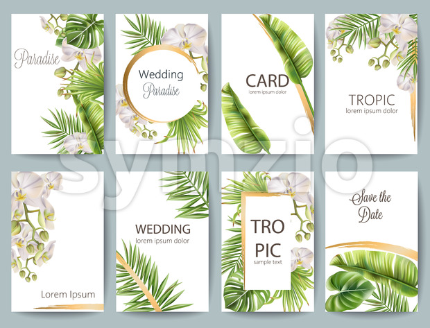 Tropical leaves wedding greeting card set with flowers and place for text. Vector Stock Vector