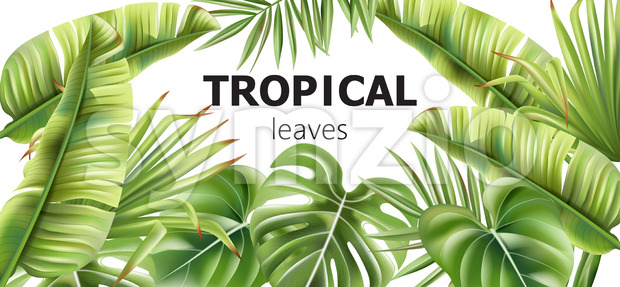 Green tropical leaves banner with place for text. Various flowers. Vector