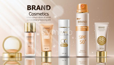 Beige color make up cosmetics set with cream, sunscreen spray, primer and foundation. Mirror and sun shining decoration. Mockup realistic Vector Stock Vector