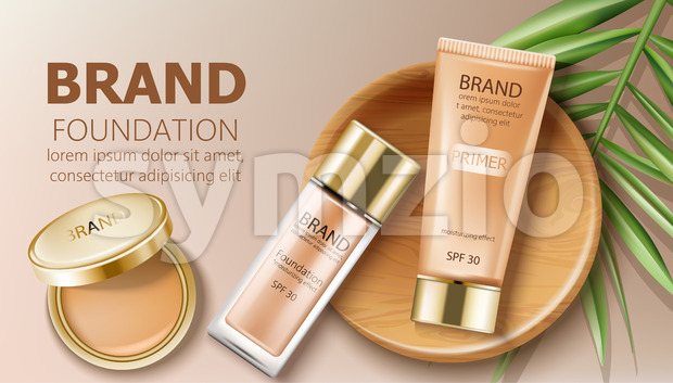 Foundation and primer bottles in beige color. Green leaves and makeup pocket mirror decoration. Mockup realistic Vector