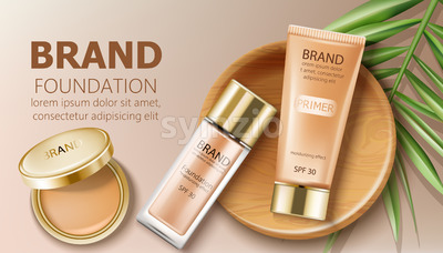 Foundation and primer bottles in beige color. Green leaves and makeup pocket mirror decoration. Mockup realistic Vector Stock Vector