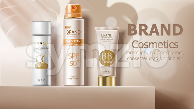 Sunscreen body spray and cream in beige color. Leaves shadows on backgrond. Product placement mockup vector Stock Vector