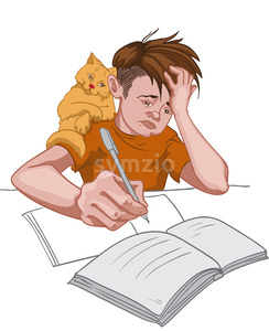 Unhappy boy in orange t-shirt making his homework while his cat sits on his shoulder. School routine. Vector Stock Vector