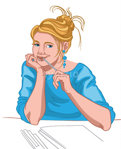 Young blonde woman with blue eyes and joyful face dressed in blue blouse thinking what to write. Work routine. Vector Stock Vector