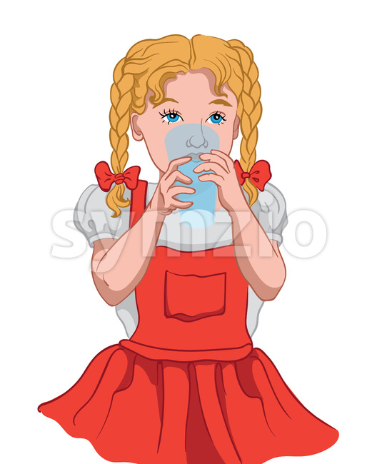 Little blonde girl with blue eyes in red dress and white blouse drinking water from a glass cup. Vector