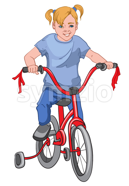 Blonde girl with blue eyes and outfit riding a red bicycle. Training wheels. Vector Stock Vector