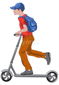 Joyful boy riding a kick scooter. Transportation idea. Wearing blue cap and backpack, red t-shirt, brown pants, and gray shoes. Vector Stock Vector