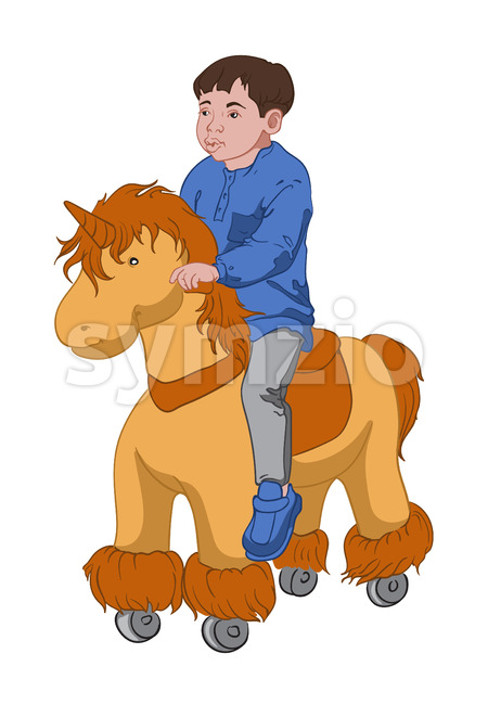 Little boy in blue shirt and shoes, gray pants riding a toy pony. Vector Stock Vector
