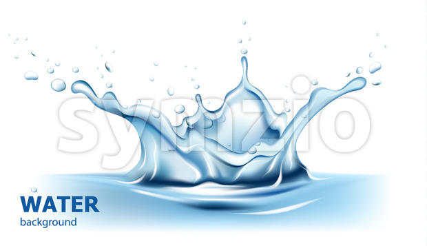 Water splash with reflection background. Realistic. Vector Stock Vector