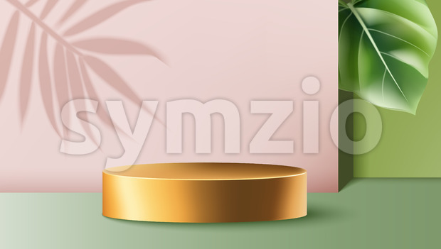 Golden round container surrounded by pink and green walls with exotic leaves. Product placement. Vector Stock Vector