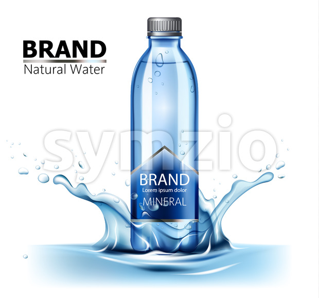 Bottle of mineral water with place for text in center of a water splash. Realistic. Product placement. 3D Mockup. Vector