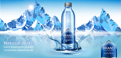 Bottle of mineral natural water with place for text in center of a water splash. Snowy mountains in back. Product placement. 3D mockup. Vector Stock Vector