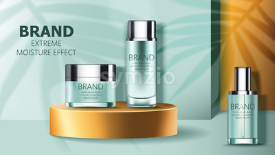Set of two cosmetic containers on golden podium. Extreme moisture effect. Product placement. 3D mockup. Vector Stock Vector