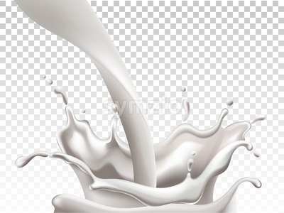 Milk pouring down and making big splashes. Realistic. Vector Stock Vector
