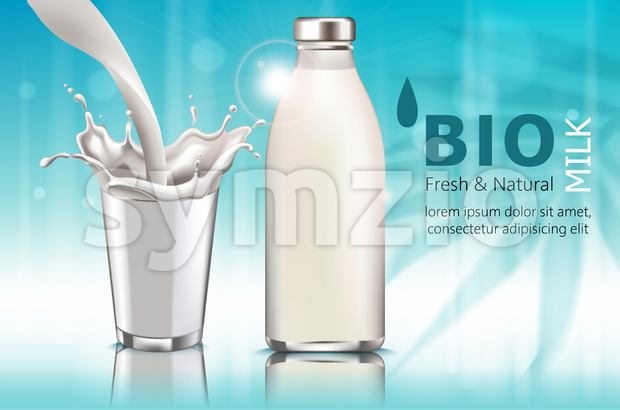 Composition of a bottle and a cup with milk. Pouring down. Splashes. Bio. Fresh and natural. . Realistic. 3D Mockup ...