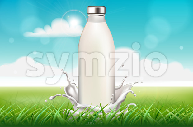 Bottle of milk surrounded by splashes on grass background. Blue sky. Realistic. Vector