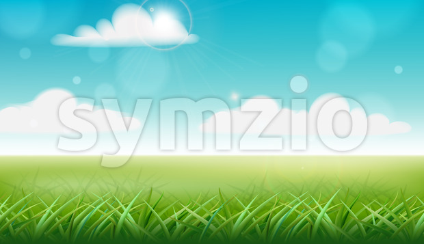 Peisage of a meadow. Green grass and blue sky with clouds. Vector Stock Vector