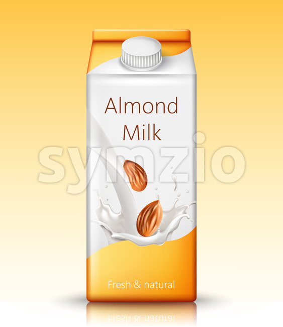 Carton box with almond milk. Fresh and natural. Realistic. 3D Mockup Vector Stock Vector