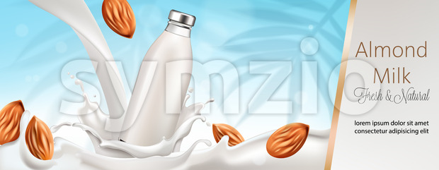 Bottle surrounded and filled with milk and almonds. Place for text, Fresh and natural. 3D Mockup Vector Stock Vector