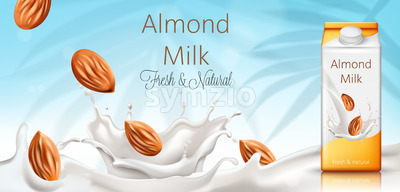 Carton box with almond milk. Nuts and milk splashes. Fresh and natural. Realistic. 3D Mockup Vector Stock Vector
