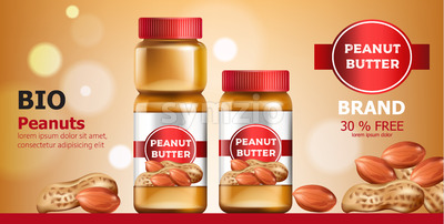Composition of three jars with peanut butter. Place for text. Bio. On Sale. Realistic. 3D Mockup Vector Stock Vector
