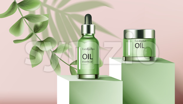 A jar and a dropper bottle with essential eucalyptus oil on podiums. Place for text. Twig and palm three leaf. Realistic. 3D Mockup Vector Stock Vector