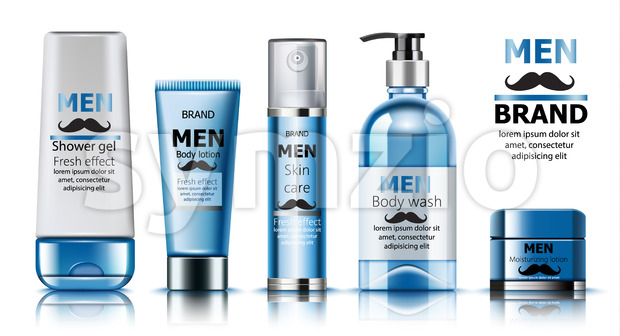 Composition of shower gel, body lotion, skin care oil, wash soap and moisturizing lotion for men. Place for text. Fresh effect. Moustache decoration. Stock Vector