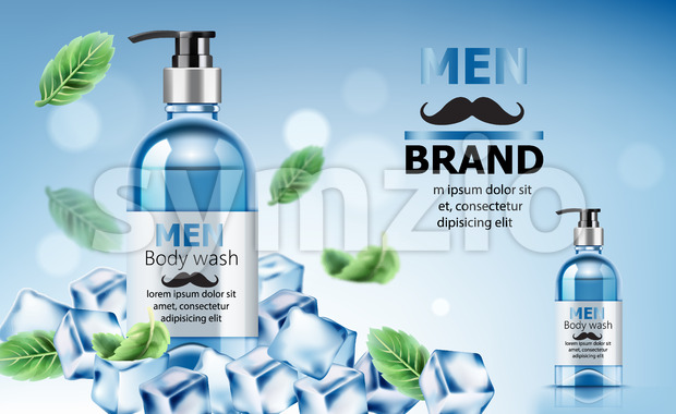 Body wash soap for men surrounded by ice and mint leaves with place for text. Realistic. 3D Mockup Vector Stock Vector