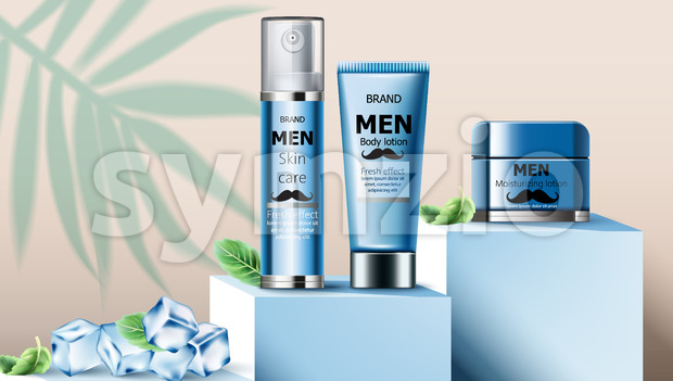 Composition of skin care oil, body lotion and moisturizing lotion for men on podium. Ice cubes and mint leaves. Realistic. 3D Mockup Vector Stock Vector